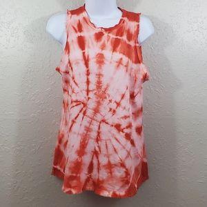 Brand Bazar Orange Frayed Tie Dye Tank Top